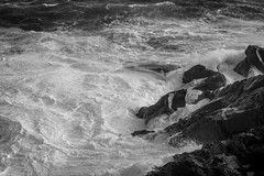 rocks, surf, foam, below Gull Rock, Monhegan, Maine, Nikone D40, nikon nikkor 50mm f-2, 5.27.15 (steve aimone) Tags: ocean blackandwhite seascape monochrome 50mm nikon rocks surf waves maine monochromatic foam coastline f2 nikkor atlanticocean monhegan seacoast monheganisland gullrock primelens nikond40 nikonprime