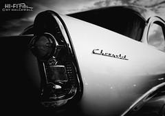 Old School Chevrolet (Hi-Fi Fotos) Tags: light blackandwhite bw chevrolet lines vintage emblem mono design nikon classiccar noir fifties tail style chevy chrome american badge americana 50s 1956 fin 56 midcentury d5000 hallewell hififotos
