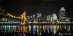 Cincinnati Skyline at Night (AP Imagery) Tags: bridge ohio skyline night john cityscape kentucky ky cincinnati historic ohioriver covington roebling