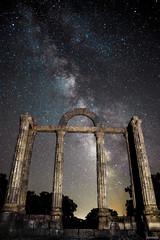 Marble and Stars (Javiralv) Tags: espaa night way stars noche spain ruins roman columns estrellas milky va columnas lctea