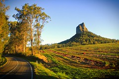 Round the bend (rachFNQ) Tags: sunset mountain mountains rock rural landscape dusk scenic australia scene hike adventure queensland fields glasshousemountains australianlandscape rockclimbing bucolic sunshinecoasthinterland