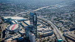 20160721 DTLA Aerial -9 (Tony Castle) Tags: aerial photography helicopter heli canon 5diii sony a7rii mirrorless sigma mc11 converter sky city la dtla los angeles traffic