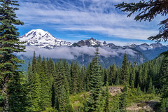Common Ground (writing with light 2422 [NOT PRO]) Tags: commonground mountrainiernationalpark mountrainier volcano stratovolcano sonya77 richborder love peace washingtonstate landscape fog clouds shrinerpeaktrail