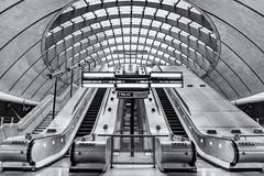 Canary Wharf tube (mudstuff) Tags: blackandwhite blackwhite bw london canary wharf a7rii canon 2470f4 tube underground escalator architecture topf25 infinitexposure