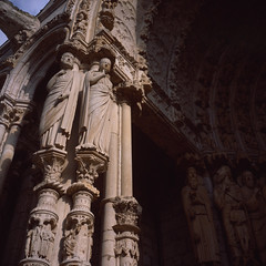 Chartres North Porch Light and Dark (Pale_Cow) Tags: gothic france 120film fujichrome provia rollleiflex chartres iso100