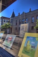 State of the Art Store Front in downtown Waukesha WI by sheldn (2sheldn) Tags: state art store front downtown waukesha wi sheldn canon t5i hdr blue sky fine fineart kids reflection building architecture stateoftheart window drawing teach school children copyright copyrightdanielsheldon license shop