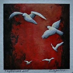 9 septembre 2015 - September 9, 2015 (marieclaprood) Tags: art illustration painting acrylic acrylicpainting marieclaprood dailypainting artwork canvas birds fivebirds claprood surrealist abstractbackground red white black whitebirds