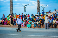 People at Gandhi Statue (wandercrumbs) Tags: people rock beach gandhi statue memorial pondicherry puducherry