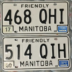 MANITOBA 1997 LICENSE PLATES ---QHI and QIH SUFFIXES (woody1778a) Tags: saskatchewan licenseplate numberplate registrationplate mycollection myhobby history canada