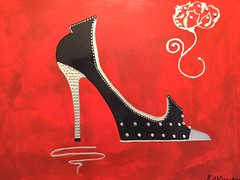 "LOUBOUTIN Red Shoe 35,56x45,72 CM/14""x18"" By Kathleen Artist PRO (kathleenartistpro) Tags: shoe chaussure rouge noir black red brillant acrylic acrylique artmodern art andremonet andre acryli artworld artiste artist paint painter worldart world hollywood oldhollywood voka modernart mixte monet modern moderne media monroe marilyn montreal canada gallerie gallery louboutin"