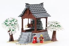 Bonshō - Buddhist bells (Gzu's Bricks) Tags: nihon figurine minifig bonsho bell japanese japan buddhist japon gzu gzubricks bricks lego geisha kimono sakura cerisier blossom cloche ogane temple boudhiste diorama