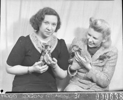 """Two actresses each holding a small kitten (scene from """"These Children"""", British-Australian production), 9 August 1948, Sam Hood (State Library of New South Wales collection) Tags: statelibraryofnewsouthwales"""