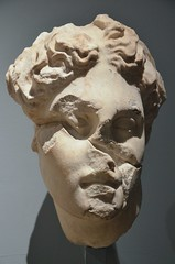 Marble head of Apollo from the Mausoleum at Halikarnassos, around 350 BC, British Museum (Following Hadrian) Tags: mausoleum bodrum halicarnassus caria halicarnassos maulossos