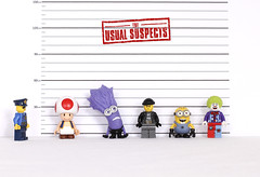 The Usual Suspects (Skyline:)) Tags: red colour strange smile yellow fun funny lego lol clown police mario toad minions minifigures