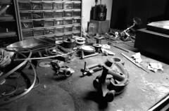 The setup (Immane) Tags: blackandwhite bw film monochrome analog 35mm bench garage 11 d76 135 worktable supermulticoatedtakumar fomapan ei50 28mmf35 pentaxspotmaticii aristaeduultra100 roll138