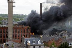 Fire (Karen Burgoyne) Tags: abandoned canon fire scotland factory outdoor empty aberdeen forgotten northeast richards broadford redbrick broadfordworks