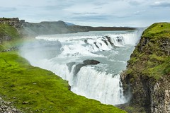 Gullfoss Iceland (Einar Schioth) Tags: summer sky cliff cloud water sunshine rock clouds canon river landscape coast photo waterfall iceland rocks day outdoor ngc picture canyon gullfoss sland nationalgeographic einarschioth