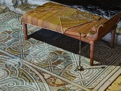 A dining couch in Loupian Roman Villa near Loupian, France. (mharrsch) Tags: roman villa loupian mosaic floor pavement architecture couch dining furniture furnishings ancient gaul france mharrsch archaeology