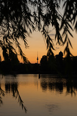 berlin (kadircelep) Tags: berlin city cityscape cityview fernsehturm urban cities travel lake waterscape nature outdoor sunset shadow streetphotography light reflection sky rummelsburg tree sun