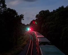 Long exposure of 214's tail (bdunn829) Tags: longexposure nightphotography railroad night ns trains nightsky arrowhead norfolksouthern railfanning arrowheadvalleyroad
