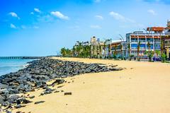 Hot Afternoon at Rock Beach (wandercrumbs) Tags: hot afternoon rock beach sea sky buildings pondicherry puducherry