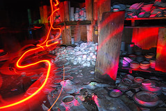 Fire Light Painting Abandoned Plates (jna.rose) Tags: light painting lightpainting longexposure plates abandoned building factory urbandecay nikon urbanexploration china abandonedfactory crates fire orange glow wood indoor night nightphotography slowshutter