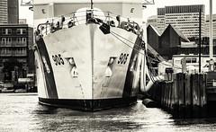 Cutter and Skyline (PAJ880) Tags: uscgc spenser cutter ma coast guard base bow bw boston wmec 905