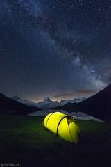 Camping under the stars - Bachalpsee (Captures.ch) Tags: 2016 alps bachalpsee bernschweiz black blue camping clear d800 eiger finsteraarhorn galaxy gray green grindelwald july jungfrau lake landscape light magenta milkyway monch mountains nature night nikon orange perfect red reflection schreckhorn sky stars summer swiss switzerland tent violet white