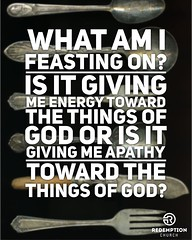 "Every soul hungers for satisfaction. What food is your soul snacking on? ""O taste and see that the Lord is good."" Ask yourself: What table have I pulled my self up to today? What am I eating from this week? What am I feasting on? Is it giving me energy to (rcokc) Tags: every soul hungers for satisfaction what food is your snacking on otasteandseethatthelordisgood ask yourself table have i pulled self up today am eating from this week feasting it giving me energy toward things god or apathy redemptionokccomsermons"
