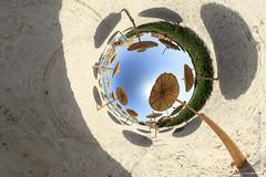 A l'ombre des parasols... (jeje62) Tags: tn sable plage tunisie panoramique parasols monastir littleplanet stereographique skanesserail