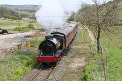 SLL owned RSH 7086 'Norman' in the livery of NCB No. 69 from Durham nears Draughton Low Lane overbridge  on 4th May 2015  (steamdriver12) Tags: bridge west heritage robert abbey durham no board smoke yorkshire low over may 4th railway steam norman southern riding national lane bolton locomotive 69 coal limited dales hawthorn stephenson ncb embsay slg 2015 rsh austerity 7086 draughton 060st