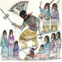 """Little Apache Dancer"" (DeGrazia Gallery in the Sun) Tags: arizona sun ted art architecture watercolor book apache artist gallery dancers desert tucson paintings illustrations az adobe crown degrazia catalinas ettore nationalhistoricdistrict"