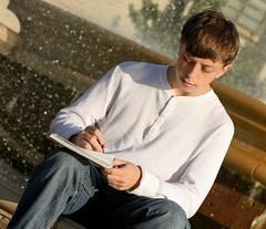 Written Art (McKenzie's Photography) Tags: school boy male art water landscape him outside waterfall student focus texas outdoor tx young son teen his write draw splash he rockwall