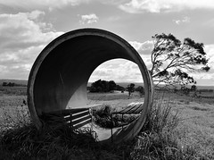School Bus Shelter [Explored] (phunnyfotos) Tags: bw circle concrete mono nikon seat pipe australia monotone victoria busstop busshelter seats round cylinder vic shelter gippsland cylindrical concretepipe emptyseats latrobevalley traralgon d5100 nikond5100 traralgoneast phunnyfotos