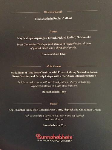 Bunnahabhain-paired whisky dinner