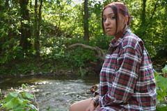 'Fee' i. (miranda.valenti12) Tags: trees red portrait water leaves forest river felicia outside outdoors leaf woods rocks stream sitting fierce outdoor expression posing redhead wilderness adventures plaid facial fee