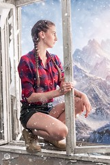 Escape from Reality (PeterPetroff) Tags: girl woman model female posing unreal beauty beautiful window frame retouch dreamy dreaming mountain snow winter summer boots shorts shirt face people fine art