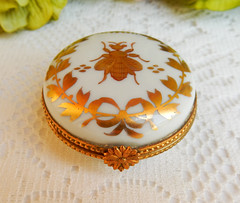 Limoges France Hand Painted Porcelain Trinket Box Napoleonic Bee Gold (Donna's Collectables) Tags: limoges france hand painted porcelain trinket box napoleonic bee gold