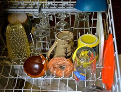 Preparing to Sanitize Two Donuts That Were on the Floor Longer Than Five Seconds (ricko) Tags: glasses cups rack donut dishwasher dishes 2016 195366 cremefilledchoclateeclair invalid5secondrule