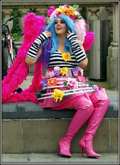 Sitting pretty (* RICHARD M (Over 5 million views)) Tags: street candid portraits portraiture streetportraits streetportraiture candidportraits candidportraiture prettygiirl prettyinpink inthepink pink liverpoolpride lgbt parades kinkyboots pinkboots flowers wig bluehair ott smiles fun happy happiness festivals fancydress liverpool merseyside europeancapitalofculture capitalofculture alternativelifestyles glamourgirl glam glamour glamorous liverpudlians scousers liverpoollasses thighboots highheels highheelboots minorities