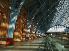 St. Pancras Station Architecture (35mmMan) Tags: stpancras station terminus london railway victorian architecture samsungkzoom android cameraphone blue brick colours inexplore st pancras ironwork explored