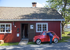 The smallest car owned by the biggest guy in charming Son, Norway (Ingunn Eriksen) Tags: son vestby norway vehicle akershus