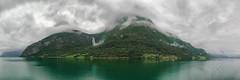 Panoramic Norwegian Waterfall (jamesromanl17) Tags: cruise panorama cloud water norway clouds landscape landscapes waterfall village panoramic fields fjord
