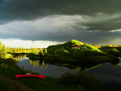 Last night's approaching storm and red canoe (+2) (peggyhr) Tags: peggyhr clouds comingstorm lake sunlight dark bright hills trees reflections redcanoe dsc00585c bluebirdestates alberta canada thelooklevel1red super~sixbronze☆stage1☆ moody atmospheric thelooklevel2yellow 30faves~ level1photographyforrecreation infinitexposurel1 simplysuperb thegalaxy infinitexposurel2 thegalaxyhalloffame