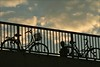 . (me*voilà) Tags: berlin bridge bicycles runner silhouette onblue diagonal sky clouds