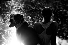 Must love dogs (mariola aga) Tags: evening river water sunset sunlight light bokeh dog woman bw black white dof portrait candid backlight reflection observers thegalaxy saariysqualitypictures