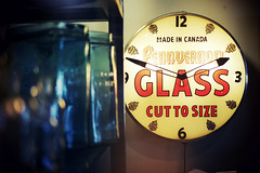 """Cut to size"" (Eric Flexyourhead) Tags: vancouver canada britishcolumbia bc chinatown penderstreet eastpender spacelab shop store antique clock timepiece lit illuminated light sign pennvernon pennvernonglass madeincanada shallowdepthoffield sonyalphaa7 zeisssonnartfe55mmf18za zeiss 55mmf18"