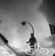 Puddlegram (16) (Mark Fearnley Photography) Tags: silhoutte silhouetting bicylcle bike puddle bnw iphone6 iphone iphoneography reflection puddlegram