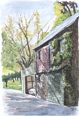Garage, 2016-09-18 (light and shadow by pen) Tags: watercolor ink pen drawing garage toronto fine art wash