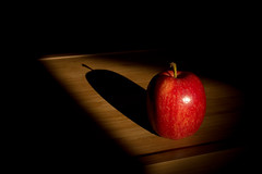 apple in the spotlight - 158/365 (auntneecey) Tags: shadow black apple background day158 day158365 365the2015edition 3652015 compositionallychallengedbackground compositionallychallengedweek23background 7jun15